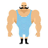 Retro strongman sportsman. Ancient bodybuilder with mustache. At Stock Photo