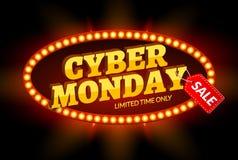 Retro struttura leggera di vendita cyber di lunedì Modello di progettazione del fondo di vettore per la vendita e gli sconti del  illustrazione vettoriale