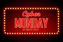 Retro struttura leggera di vendita cyber di lunedì Modello di progettazione del fondo di vettore per la vendita e gli sconti del  royalty illustrazione gratis