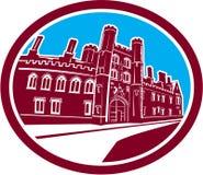 Retro Sts John högskolaCambridge byggande Royaltyfri Foto
