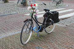 Retro students bike decorated with flowers,Holland Royalty Free Stock Photos