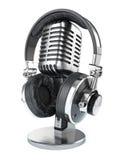 Retro studio microphone and headphones vector illustration