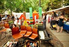Retro stuff, furniture and utensils on sale of popular flea market Royalty Free Stock Photo
