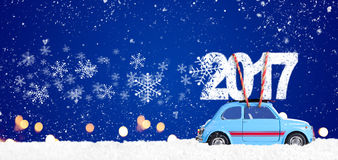 Retro stuk speelgoed auto met Kerstmisgiften Stock Fotografie