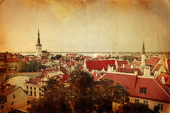 Retro stye panoramic view of Tallinn old city center Stock Image