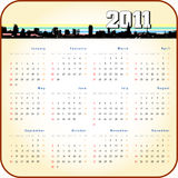 Retro style 2011 calender. Retro/vintage style 2011 calender with city silhouette header Stock Photos