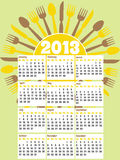 Retro style 2013 kitchen calendar. A retro diner style kitchen calendar for 2013 royalty free illustration