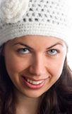 Retro style. A smiling young woman with a white retro hat Royalty Free Stock Image