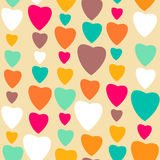 Retro style abstract seamless pattern, Valentine's day background with hearts Stock Photos