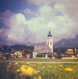 Retro Style Alpine Village With Flowers Stock Images