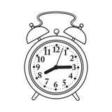 Retro style analog alarm clock, sketch vector illustration. Retro style analog alarm clock, black and white sketch style vector illustration isolated on white Stock Photography