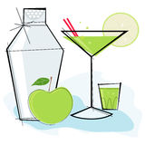 Retro-style Apple Martini stock illustration
