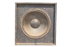 Retro style audio equipment, black loudspeaker on white background Stock Image