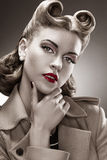 Retro Style. B&W Portrait. Styled Woman with Pin-up Hairdo royalty free stock photography