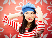 Retro style is back. Young smiling caucasian woman wearing retro clothes Royalty Free Stock Photography