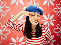 Retro style is back. Young smiling caucasian woman wearing retro clothes Royalty Free Stock Images