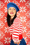 Retro style is back. Young smiling caucasian woman wearing retro clothes Royalty Free Stock Image