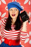 Retro style is back. Young smiling caucasian woman wearing retro clothes Stock Photo