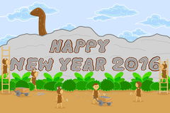 Retro style background of happy new year 2016 Stock Photos