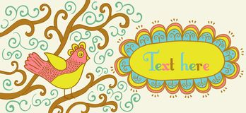 Retro style banner with bird and frame Stock Photos