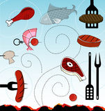 Retro-style BBQ Icons (vector) Stock Photos