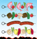 Retro-style BBQ Kebabs Stock Photo