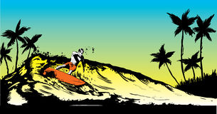 Retro style beach scene with short board surfer Stock Photo