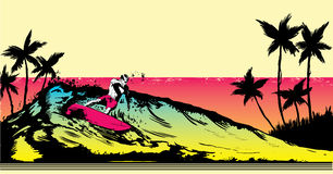 Retro style beach scene with surfer illustration Royalty Free Stock Image