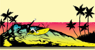 Retro style beach scene with surfer illustration Royalty Free Stock Photos