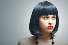 Retro style Beautiful Brunette Girl.Healthy Hair.red lips. Retro style Beautiful Brunette Girl. Healthy Black Hair. bob Haircut. red lips. beauty woman stock image