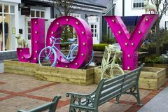 Retro style bicycles used as decorative items of interest at the luxury Kildare Village retail outlet in County Kildare Ireland. 16 March 2018 Retro style stock images