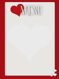 Retro style blank valentines menu Stock Images