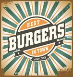 Retro style burger sign. Vintage poster template, fast food restaurant background. Vintage hamburger metal sign on old scratched texture royalty free illustration