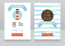 Retro style card for marine club/yacht party/lake camp Stock Photography