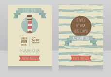 Retro style card for marine club/yacht party/lake camp Royalty Free Stock Images