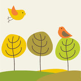 Retro Style Card With Birds Couple On The Trees Royalty Free Stock Images