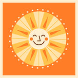 Retro style cartoon sun illustration Royalty Free Stock Image