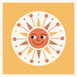 Retro style cartoon sun illustration Royalty Free Stock Photography