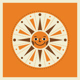 Retro style cartoon sun illustration Stock Photos