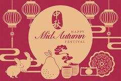 Retro style Chinese Mid Autumn festival food full moon cakes tea pomelo and rabbits. Translation for Chinese word : Mid Autumn stock images