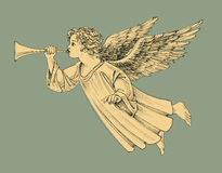 Retro style Christmas angel stock illustration