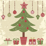 Retro style Christmas card Stock Photo