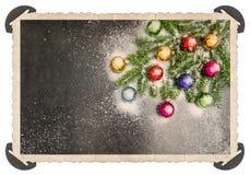 Retro style Christmas card corner Vintage photo frame Stock Images