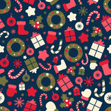 Retro style Christmas pattern. Winter background Royalty Free Stock Photos
