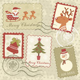 Retro style Christmas stamps Stock Photo