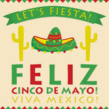 Retro style Cinco De Mayo 5th of May card Stock Images