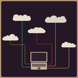 Retro style cloud computing concept. Vector illustration Royalty Free Stock Photos