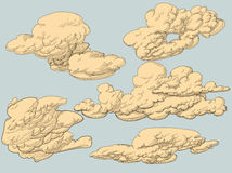 Retro style clouds Stock Image