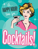 Retro style Cocktails poster or invitation Royalty Free Stock Images