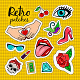 Retro style colorful stickers Stock Photography